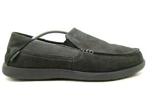 Crocs Logo Black Leather Casual Slip On Moc Toe Loafers Shoes Men's 12