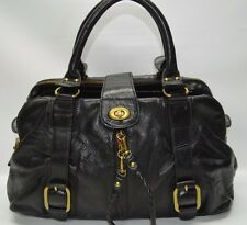 Hype Black Large Genuine Leather Triple Compartment Satchel Carryall Bag