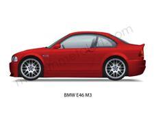 BMW E46 M3 Coupe 3 Series Imola Red MPower 2000 - 2007 S54 Auto Garage Print Art