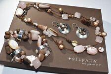 Silpada SET Rose Quartz Pearl N1428 Necklace B1418 Bracelet W1429 earrings $287