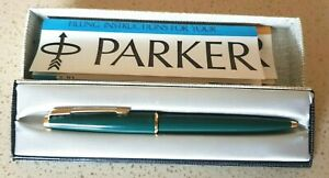 VINTAGE PARKER '45' BALLPOINT PEN TEAL BLUE (Boxed with instructions)