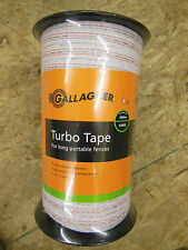"""Gallagher ELECTRIC FENCE white TURBO TAPE 1/2"""" - 656' Farm Livestock Horses NEW"""