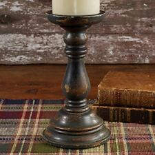 NEW!!! Primitive Country Rustic Distressed/Aged Black Pillar Candlestick Holder