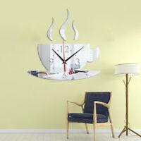 3D DIY Sticker Wall Clock, Mirror Effect Coffee Shaped Wall Clock