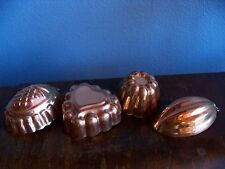 Vintage 4 Hangable Copper Mini Jello Cooking Molds with Tin Lining