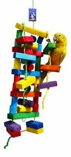 New listing Large Parrot Toy Wooden Block Hanging Chew Bite Pet Bird Cage Bells Conure Play