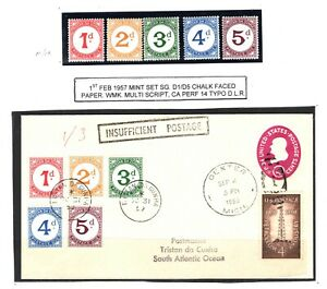 USA Cover TRISTAN DA CUNHA 1959 POSTAGE DUES SETS 1d-5d Used & MM Underpaid EP2