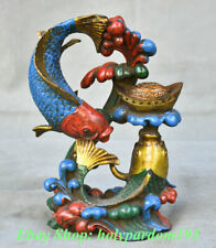 "8"" Rare Old Chinese Colored Glaze Painted Feng Shui Wealth Year Fish Sculpture"