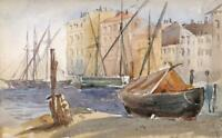 EMILY GEORGIANA HOWARD Small Watercolour Painting HARBOUR AT CANNES FRANCE c1877