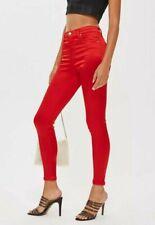 Brand New Women Ladies Topshop Red Sateen Jamie Jeans.