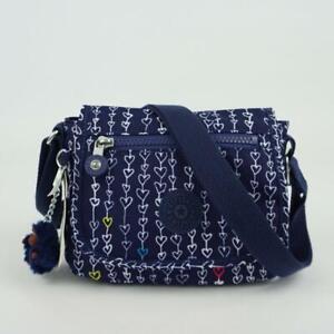 KIPLING SABIAN Mini Shoulder Travel Crossbody Bag Threaded Hearts Navy