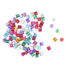 100x Colored Dreadlock Beads Hair Braid Beard Adjustable Cuff Tube Clip 9mm