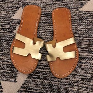 Indian Gold Wooden Sandals Size 5