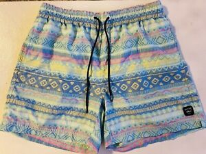 Spicy Tuna Men's L Pocketed Draw String Swim Trunk Tribal Multicolor Pattern