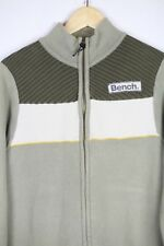 VINTAGE Mens BENCH Cardigan MILITARY CABLE KNIT Sweater ZIPPER Medium SLIM  P41