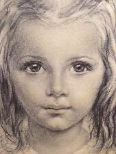 Listed Italian Giuseppe Tarantino Portait Of A Girl Original Drawing On Paper