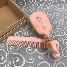 Vintage Celluloid Handpainted Pink Baby Hair Brush & Comb Set Doll ~1960