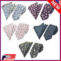 Floral Tie & Pocket Square Set Paisley Formal Necktie Party Wedding Groomsmen