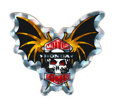 Skull & Raised Bat Wings Honda Metallic Foil Sticker Motorcycles