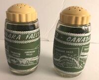 Vintage Niagara Falls Souvenir Salt Pepper Shakers Canada Green White Van Pak