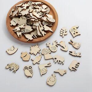 50Pcs Unfinished Wooden Laser Cut Animal Shapes Craft Embellishments Decors