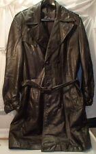 Vintage 1970s Dark Brown Double Breasted Belted Overcoat Top Coat Mens 42