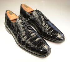 "Mezlan Platinum "" Princeton "" Black Genuine Crocodile Oxford Dress Shoe 10"