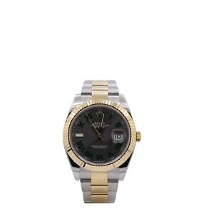 Men's Rolex Datejust 41, 18k Yellow Gold, Stainless Steel, Slate Dial, 126333