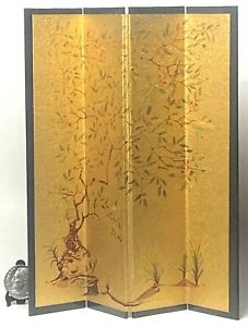 Vintage Asian Room Divider Screen Dollhouse Miniature 1:12 Gold Floral