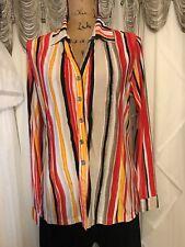 Erin London ,M, Slinky Red/Black/Orange/Yellow Print, Sequins LS Blouse Top NWOT