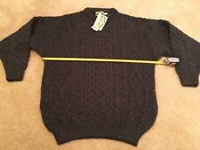 Aran Crafts Wool Mens Fisherman's Sweater  Charcoal Large