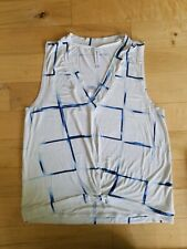RVCA WOMEN'S TANK TOP KNOTTED FRONT WHITE BLUE LINES SIZE SMALL PREOWNED