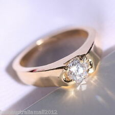 14K Gold Plated Wedding Jewellery White Sapphire Engagement Ring 18mm dia