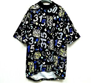 BOLD NUMERIC PRINT CYCLING JERSEY - GERMAN? Size XL - S/S 1/4 ZIP NUMBERS VGC