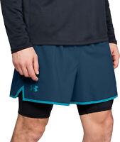 Under Armour Qualifier 2 In 1 Mens Running Shorts Blue Gym Training Sport Short