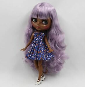"""Factory Neo Blythe Doll Doll Jointed Body Very DARK SKIN PURPLE Hair 12"""" Nude"""