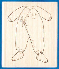 Sweet Sleeper Rubber Stamp by Impression Obsession - Cute Baby Pajamas with Feet