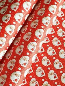 A4 Red Santa Fabric Sheet Father Christmas hair bow jewellery craft DIY