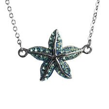 starfish Charm Blue Rhinestone Pendant Necklace with 16inch Fine Chain