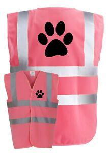 DOG PAW WALKER Pink Hi-Vis High-Vis Visibility Safety Vest/Waistcoat