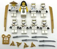LEGO 8 NEW WHITE NINJA MINIFIGURES NINJAGO CASTLE MEN WITH WEAPONS FIGURES