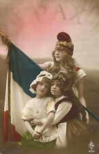 End of WWI ww1 World War One FRENCH PEACE tinted photo postcard