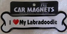 """Dog Magnetic Car Decal - Bone Shaped - I Love My Labradoodle - Made in USA - 7"""""""