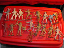 """1960s Lot of 17 Damaged Marx 6"""" Cowboys & Indians (& Others)"""