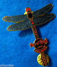 ORLANDO RUBY RED RHINESTONE GARNET BLUE DRAGONFLY GUITAR Hard Rock Cafe PIN LE