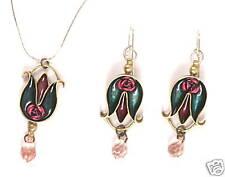 Tulip Flower Jewelry Set, Pendant Necklace & Earrings w/ Pink Glass Crystal