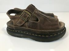 Dr Martens Air Wair Dark Brown Chunky Platform Womens Buckle Sandals Size 8