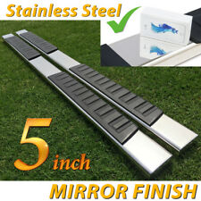 """Fit 99-18 Chevy Silverado Double Cab 5"""" Running Boards Side Step Nerf Bar S/S H"""