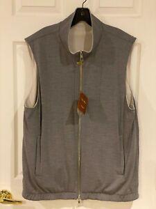 Loro Piana Gray and Stone Windwish Storm System Reversible Vest 56 NWT $1695