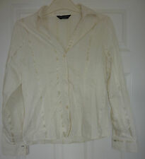 Dorothy Perkins cream shirt blouse 12 long sleeves cotton mix formal business